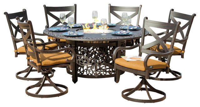 Patio Dining Set With Fire Pit Table Contemporary Outdoor Dining Sets