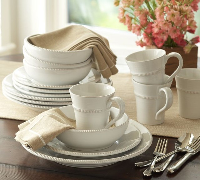 Gabriella 16-Piece Dinnerware Set, White - Traditional - Dinnerware - by Pottery Barn