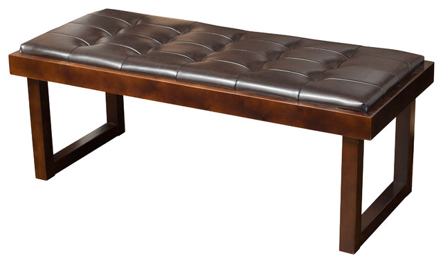 Harvey Brown Leather Tufted Ottoman Bench Contemporary