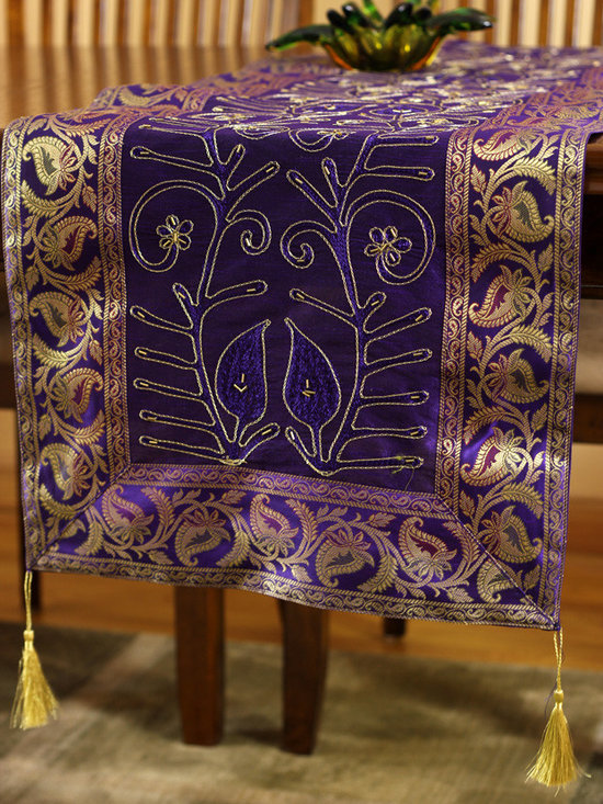 """Elegant Table Runners - Beautiful Plum Purple """"Ornamental Embroidered"""" table runner. Hand crafted in India. Great complement to any table top."""