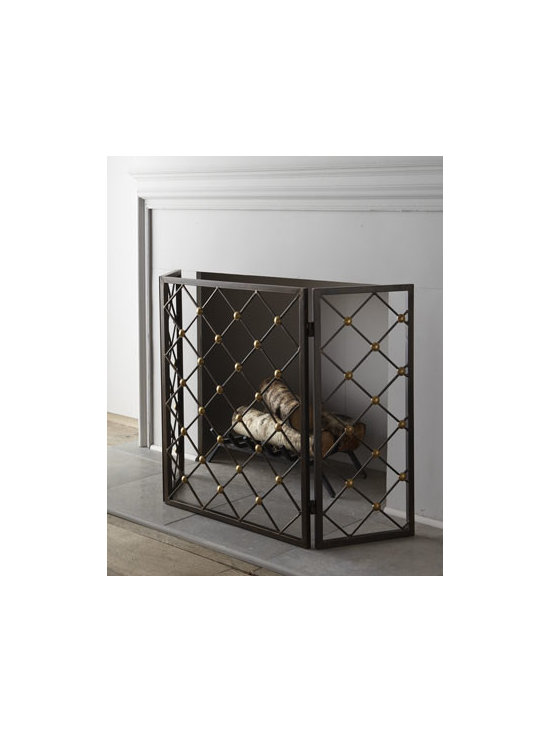 """Horchow - Button Fireplace Screen - With its simple diamond-grid pattern accented with brass buttons, this fireplace screen adds a nice decorative touch to the hearth. Handcrafted of iron with brass buttons. Outdoor safe. 52""""W x 2""""D x 31""""T. Imported. Boxed weight, approximately 29 lbs. Please note that this item may require add"""