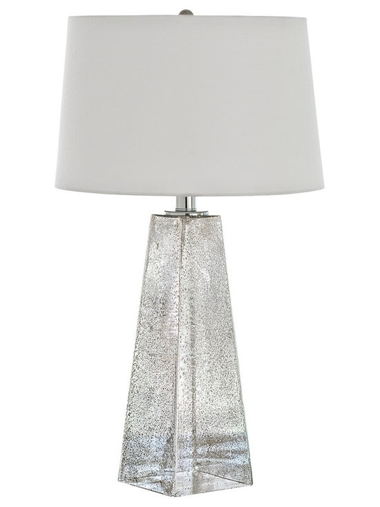 """Regina Andrew - Regina-Andrew Stardust Antique Mercury Glass Table Lamp - The antique mercury glass material in the base provides a gorgeous stardust look to this glass lamp design. Topped with a light colored lamp shade for a neutral touch. From Regina-Andrew. Glass table lamp. Antique mercury glass material. Pyramid base design. Maximum 150 watt or equivalent bulb (not included). 3-way switch. Shade measures 13"""" across the top 15"""" across the bottom 10"""" high. 15"""" wide. 28 1/2"""" high.   Glass table lamp.  Antique mercury glass material.  Pyramid base design.  Maximum 150 watt or equivalent bulb (not included).  3-way switch.  Shade measures 13"""" across the top 15"""" across the bottom 10"""" high.  15"""" wide.  28 1/2"""" high."""