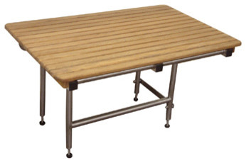 """Teak ADA Wall Mounted Folding Shower Bench/Seat with Legs (48"""" x 24"""") modern-shower-benches-and-seats"""