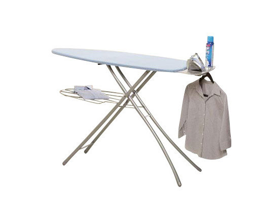 """Home Products - Wide Top Ironing Board - HOMZ Professional Ironing System with large 18-"""" wide steel mesh ironing surface 24-percent larger over standard boards. Professional 4-Leg for stylish stability and durability. Built in premium iron rest with silicone pads and integrated garment hanger. The patented leg lock insures easy transport while fully variable height adjustments to 39-"""" for any comfort. Made in USA. Khaki"""