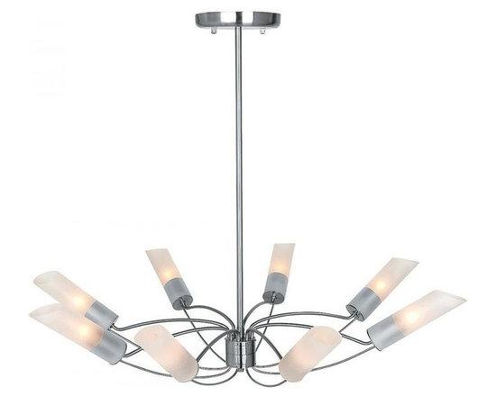 Access Lighting 50509-BS/FST Eight Light Steel Up Chandelier -