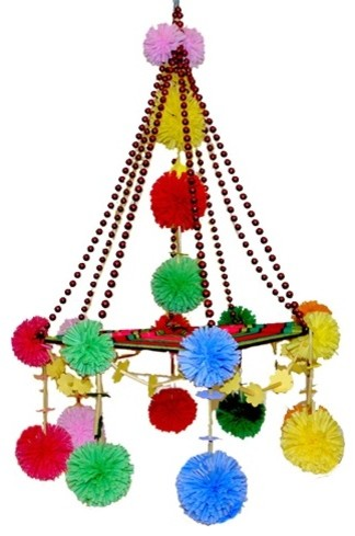 Pajak - Mobile of Paper, Straw and Yarn eclectic-chandeliers