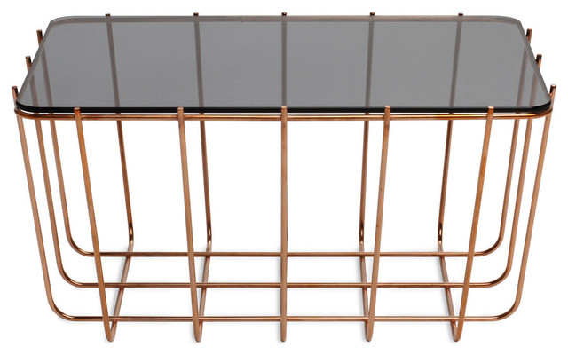 Blu Dot Scamp Small Table, Copper Base - Glass Top contemporary-coffee-tables