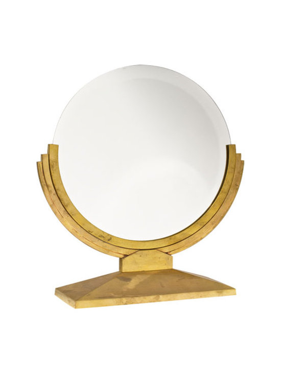 Counter Top Mirror | Polished Brass - Art Deco era vintage polished brass large counter-top mirror.