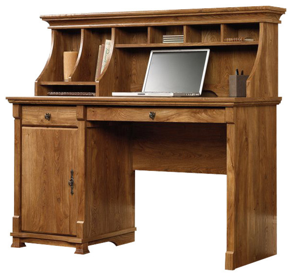 Sauder French Mills Computer Desk with Hutch in American Chestnut - Transitional - Desks And ...