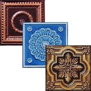 3 Full Faux Tin Tiles of Your Choice - Sample Pack - Free Shipping wallpaper