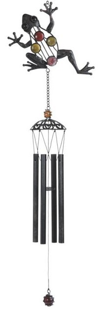 """29"""" Metal Frog Wind Chime Display with Color Stones farmhouse-wind-chimes"""