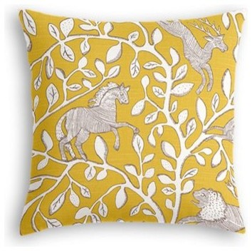 Modern Yellow Decorative Pillows : Yellow Animal Motif Custom Throw Pillow - Modern - Decorative Pillows - by Loom Decor