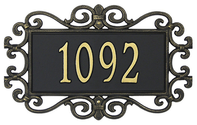 Scrolled Estate Sign Wall One Line traditional-house-numbers
