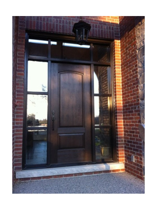 Cherry Grain Doors - Mastergrain Cherry grain door and cherry frame, stained Walnut colour, sidelight and transoms have true divided mullions and clear glass inserts with beveled edge