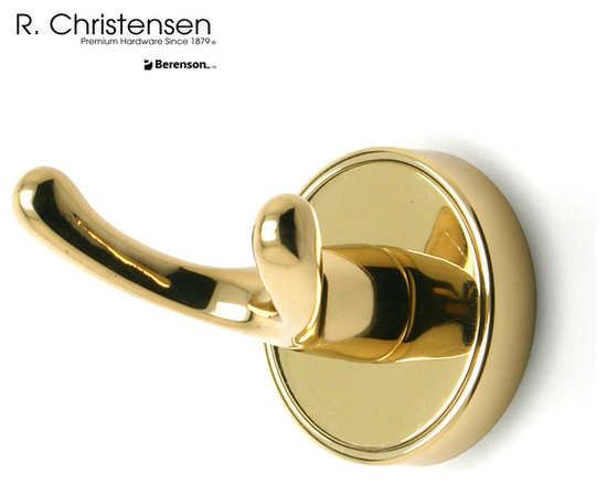2210US3 Polished Brass Double Robe Hook by R. Christensen - 2-3/8 inch long contemporary style double robe hook by R. Christensen in Polished Brass.