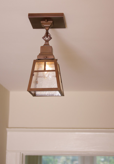 close up of small hall ceiling light craftsman