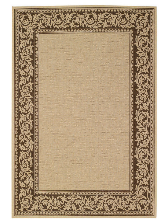 """Finesse Scroll rug in Chocolate - An esteemed """"Capel Anywhere"""" rug collection woven on precision machine looms in Europe. These versatile rugs can be used in high traffic areas indoors - like kitchens and sunrooms - or to dress up covered porches and decks outside."""