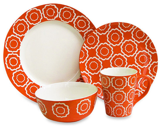 American Atelier Trellis 16-Piece Dinnerware Set, Orange -