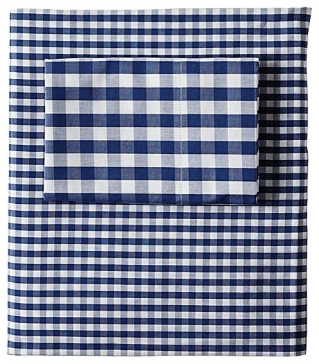 Gingham Sheet Set  Navy traditional-sheet-and-pillowcase-sets