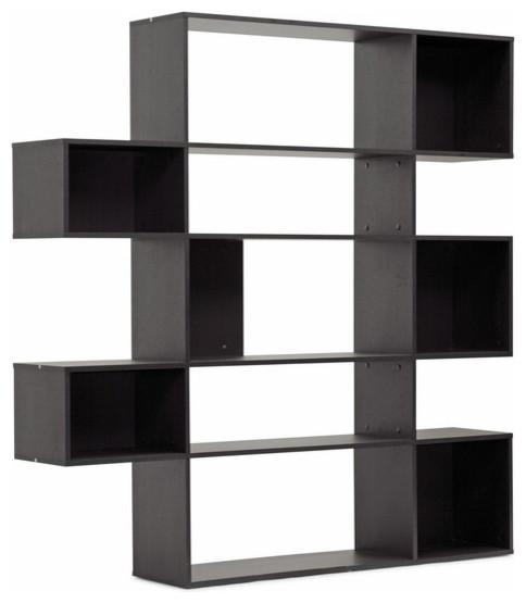 Baxton Studio Lanahan Dark Brown 5-Level Modern Display Shelf contemporary-bookcases