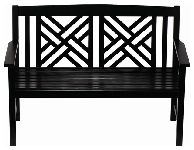 Fretwork Bench, Black Polyurethane traditional-outdoor-stools-and-benches
