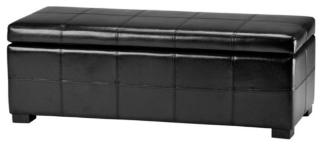 Safavieh Madison Storage Bench Black Leather Modern Upholstered Benches By Hayneedle