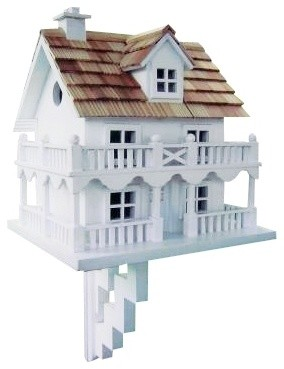 Country - Cottage Two-Story White Cottage Bird House traditional-birdhouses