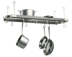 Large Gray Ceiling Pot Rack traditional pot racks