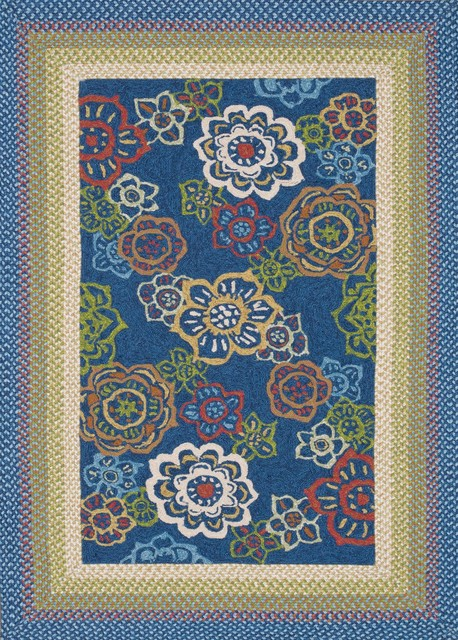 Zamora Blue Outdoor Hand Hooked Rug contemporary-rugs