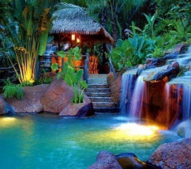 Waterfall with tiki hut tropical pool miami by r r for Pool design costa rica