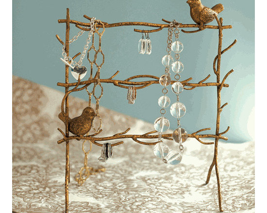 Gold Leaf Birds on Branches Jewelry Holder -