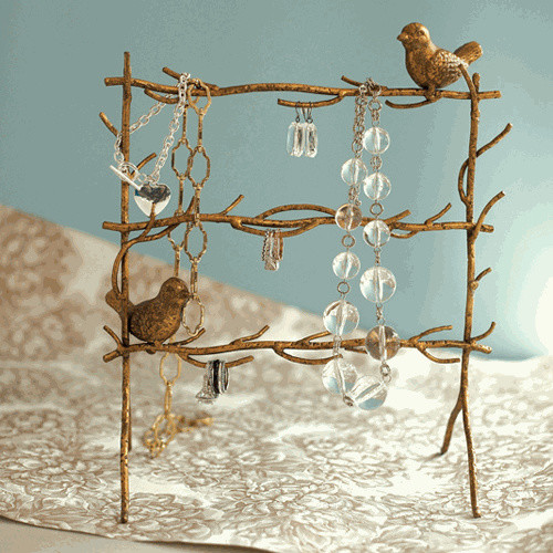 Gold Leaf Birds on Branches Jewelry Holder modern bath and spa accessories