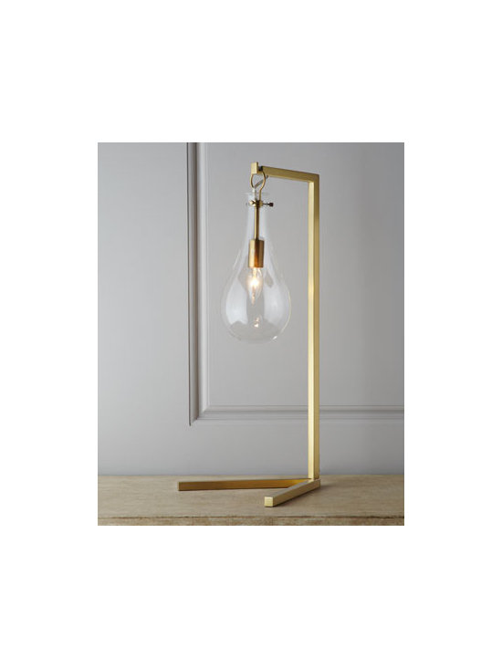 "Arteriors - Arteriors ""Sabine"" Desk Lamp - Intriguing desk lamp features a clear, teardrop glass shade suspended from a sleek, slender frame for a look that is surprisingly retro-industrial yet modern. Handcrafted of steel with an antiqued-brass finish. Glass shade. Rotary in-line switch; use..."