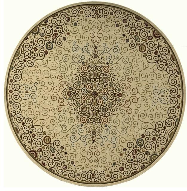 Contemporary deco round 8 39 round ivory area rug for Round contemporary area rugs