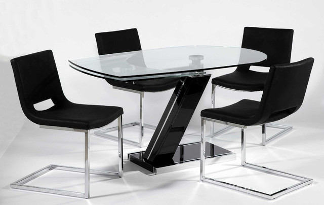 clear glass top leather designer table set modern dining tables