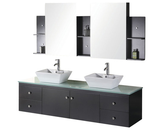 """Design Element - Design Element Portland 72"""" Wall Mount Double Vessel Sink Vanity Set - Espresso - The 72"""" Portland Double Vanity set is elegantly constructed of solid hardwood. The tempered glass counter top brings a clean and contemporary look to any bathroom. Seated at the base of the double ceramic designer sinks are chrome finished pop up drains designed for easy one touch draining. Two matching framed mirrors and shelves are included. Built into the vanity are four additional drawers and two cabinets adorned with satin nickel hardware."""