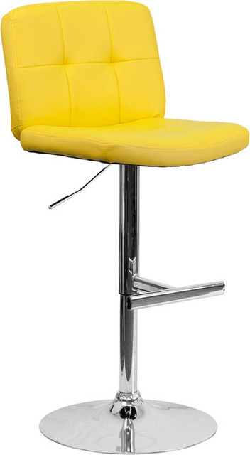 Tufted Yellow Vinyl Adjustable Height Bar Stool with Chrome Base contemporary-bar-stools-and-counter-stools