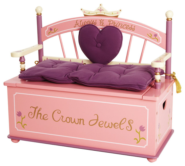 Princess Toys Box Storage Kids Girls Chest Bedroom Clothes: Princess Bench Seat With Storage