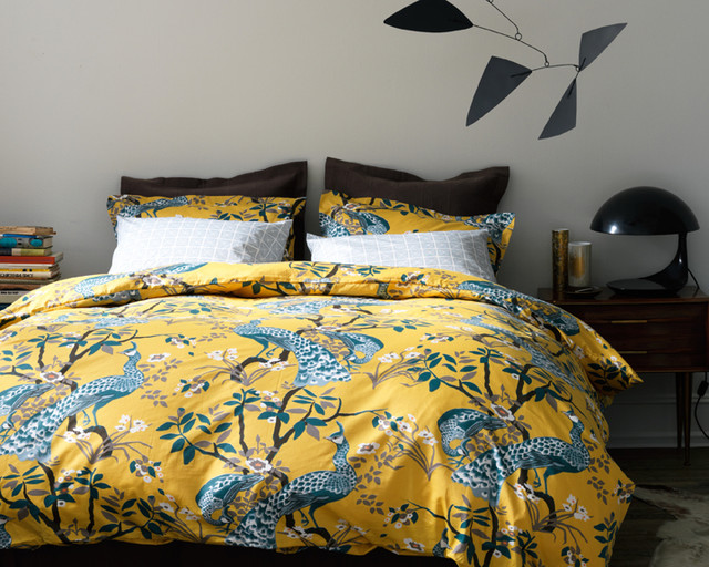 Peacock Comforter Set: DwellStudio Peacock Citrine