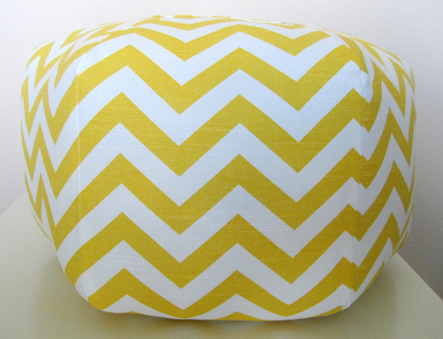 Ottoman Pouf Floor Pillow, Yellow Chevron Zig Zag by Aletafae modern ottomans and cubes