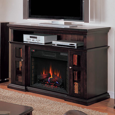 Pasadena Infrared Electric Fireplace Entertainment Center In Brown Espresso Traditional