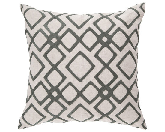 """Surya - Diamond Pattern Square Linen Pillow COM-017 - 22"""" x 22"""" - Looking for your very own diamond in the ruff? This is the pillow of your dreams. Its intricate geometric design permits the bold gray to pop against the soft cream backdrop, creating instant charisma within even the blandest space. This pillow contains a zipper closure and provides a reliable and affordable solution to updating your home's decor."""