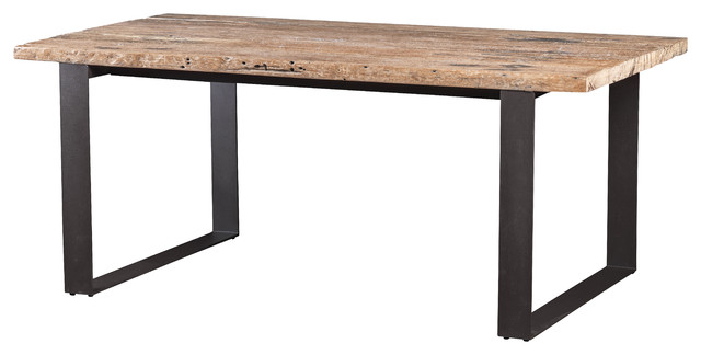 Dining table made of recycled railway wood with metal legs for Dining table with metal legs
