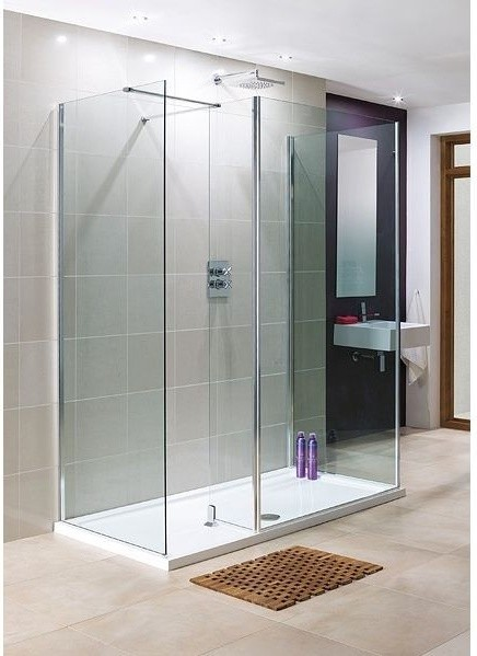 Walk in shower enclosure with bypass end and side panels for 2000 x 1000 bath