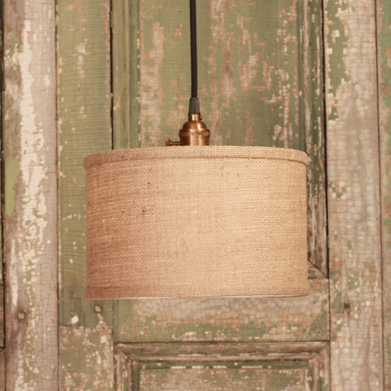 Lighting With Burlap Durm Shade Design By Lucent Lampworks contemporary pendant lighting