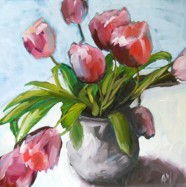 Pink Tulips in Pottery Vase by Pratt Creek Art modern-artwork