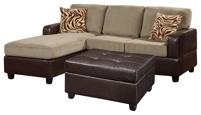 Poundex F7669 Pebble Colored Fabric Brown Leatherette