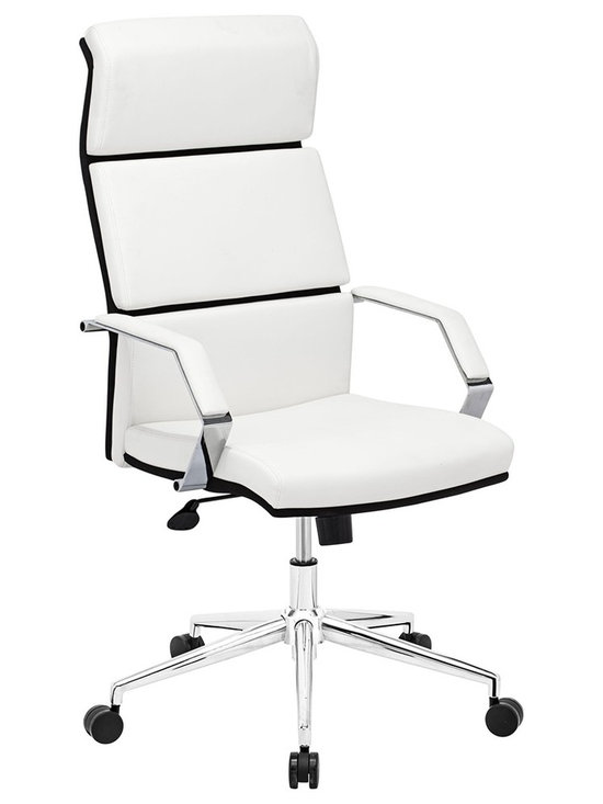 "Zuo - Zuo Lider Pro White Office Chair - White leatherette office chair. This chair has a leatherette wrapped seat and back cushions with chrome solid steel arms with leatherette pads. There is a height and tilt adjustment with a chrome steel rolling base. Chrome finish solid steel arms with leatherette pads. Height and tilt adjustment. Crome finish steel rolling base. A chic addition to your home from Zuo Modern. 27 1/2"" wide. 27 1/2"" deep. Height adjusts from 45 3/4"" - 49"". Seat is 19 1/2"" square. Seat height adjusts from 17 3/4"" - 22"". Arms are 20"" high. Some assembly required.  White leatherette office chair.  This chair has a leatherette wrapped seat and back cushions with chrome solid steel arms with leatherette pads. There is a height and tilt adjustment with a chrome steel rolling base.  Chrome finish solid steel arms with leatherette pads.  Height and tilt adjustment.  Crome finish steel rolling base.  A chic addition to your home from Zuo Modern.  27 1/2"" wide.  27 1/2"" deep.  Height adjusts from 45 3/4"" - 49"".  Seat is 19 1/2"" square.  Seat height adjusts from 17 3/4"" - 22"".  Arms are 20"" high.  Some assembly required."