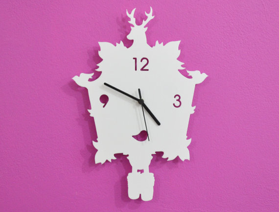 White Modern Cuckoo Silhouette Wall Clock By Object