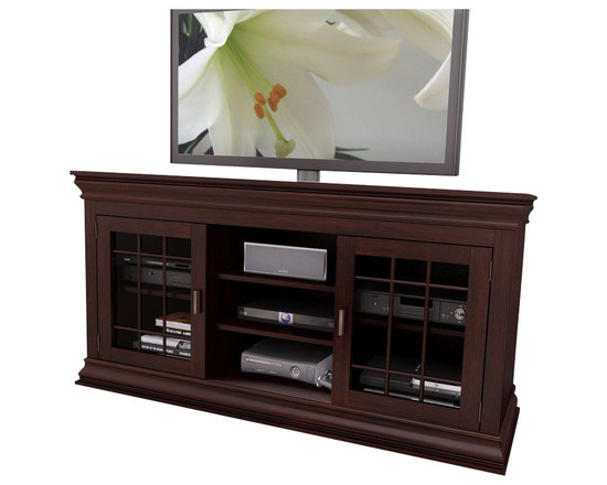 """Sonax - Sonax Carson 60"""" Wood Veneer TV / Component Stand in Espresso - Sonax - TV Stands - B231NCT - Create a memorable centerpiece in your home with this timeless Television and Component Bench from the Carson Collection by Sonax. This transitional design embodies the sophisticated characteristics of a mantle while providing the function and storage of a television bench. Open shelves provide the ideal space for your center channel and audio equipment while adjustable interior shelves allow you to customize the space to suit your needs. Complete in our signature Dark Espresso wood veneer accented with shaker style tempered glass cabinet doors this prominent piece is a welcome addition to any room in your home. Specially designed to be easy to assemble this bench was built to accommodate most 42""""-68"""" TV's."""